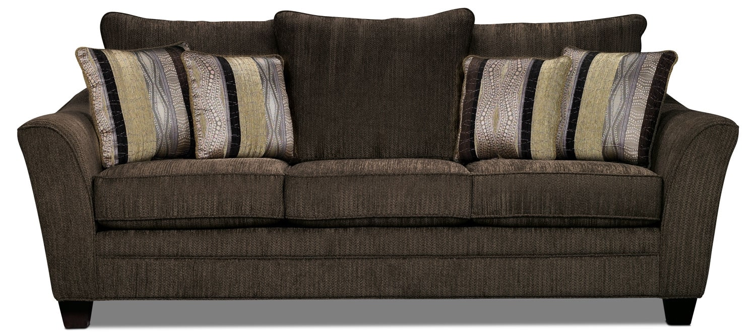 Living Room Furniture - Allen Chenille Sofa – Chocolate