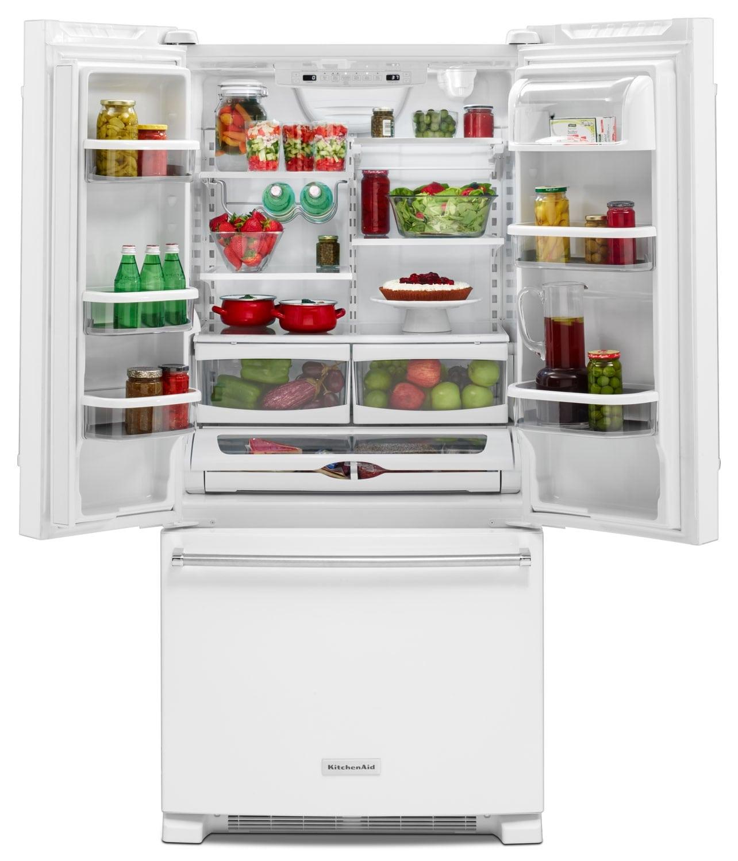 R frig rateur kitchenaid de 22 1 pi portes fran aises for Centre de liquidation armoire de cuisine