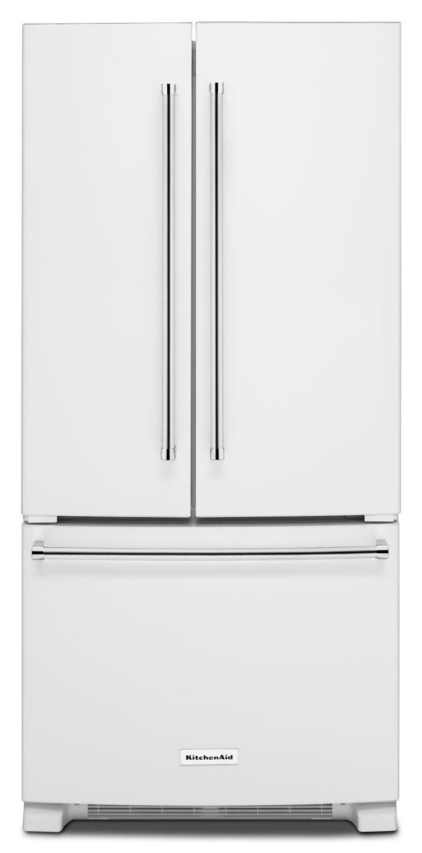 Kitchenaid 22 1 Cu Ft French Door Refrigerator With Interior Water Dispenser White The Brick