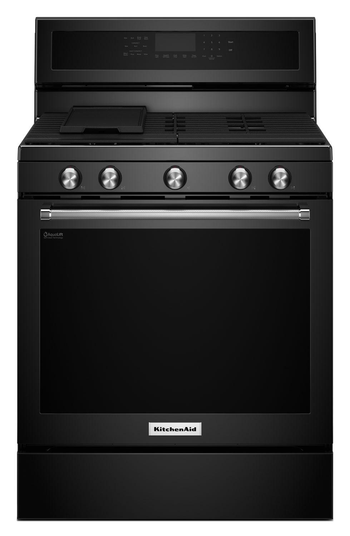 Cooking Products - KitchenAid 5.8 Cu. Ft. Five-Burner Gas Convection Range- Black