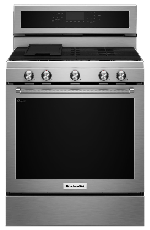 Cuisinières - Cuisinière à gaz KitchenAid de 5,8 pi³ à convection avec 5 brûleurs - acier inoxydable