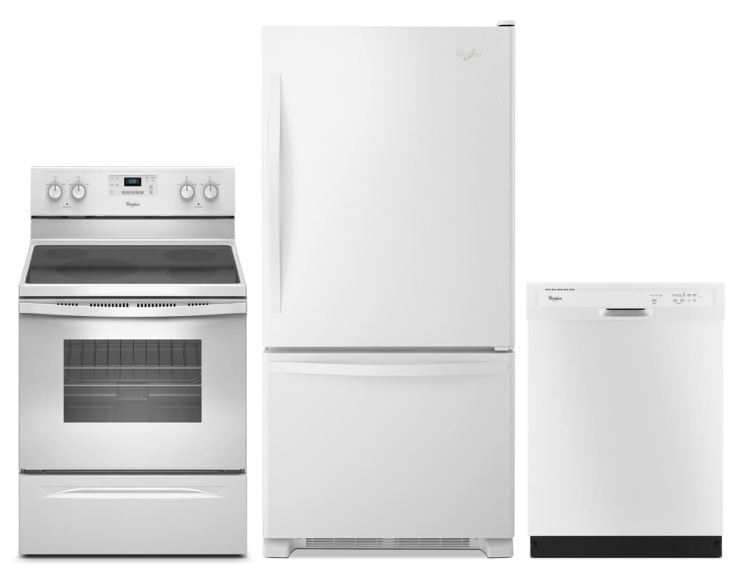Cooking Products - Whirlpool® 18.5 Cu. Ft. Refrigerator, 4.8 Cu. Ft. Electric Range and Dishwasher Package