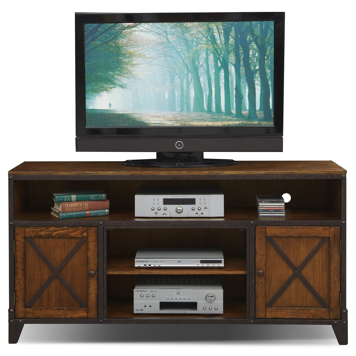Shortline Tv Stand Distressed Pine American Signature