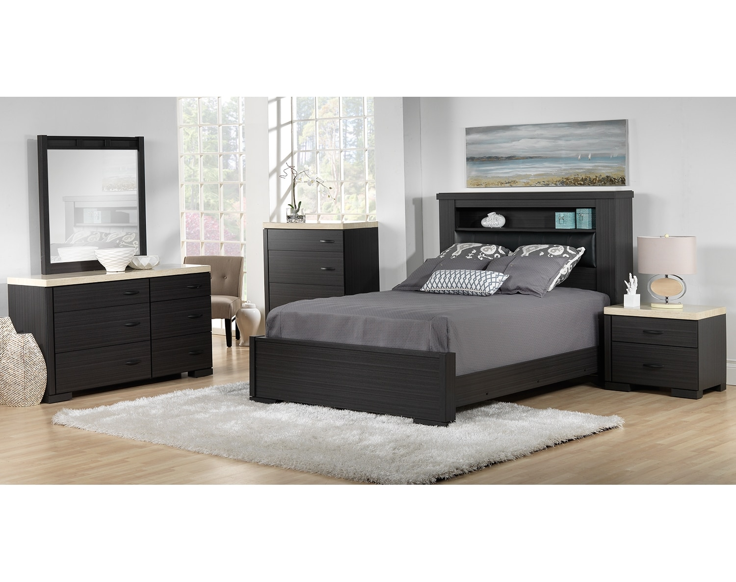 Santee 5 piece king bedroom set charcoal white leon 39 s for Chambre a coucher leon