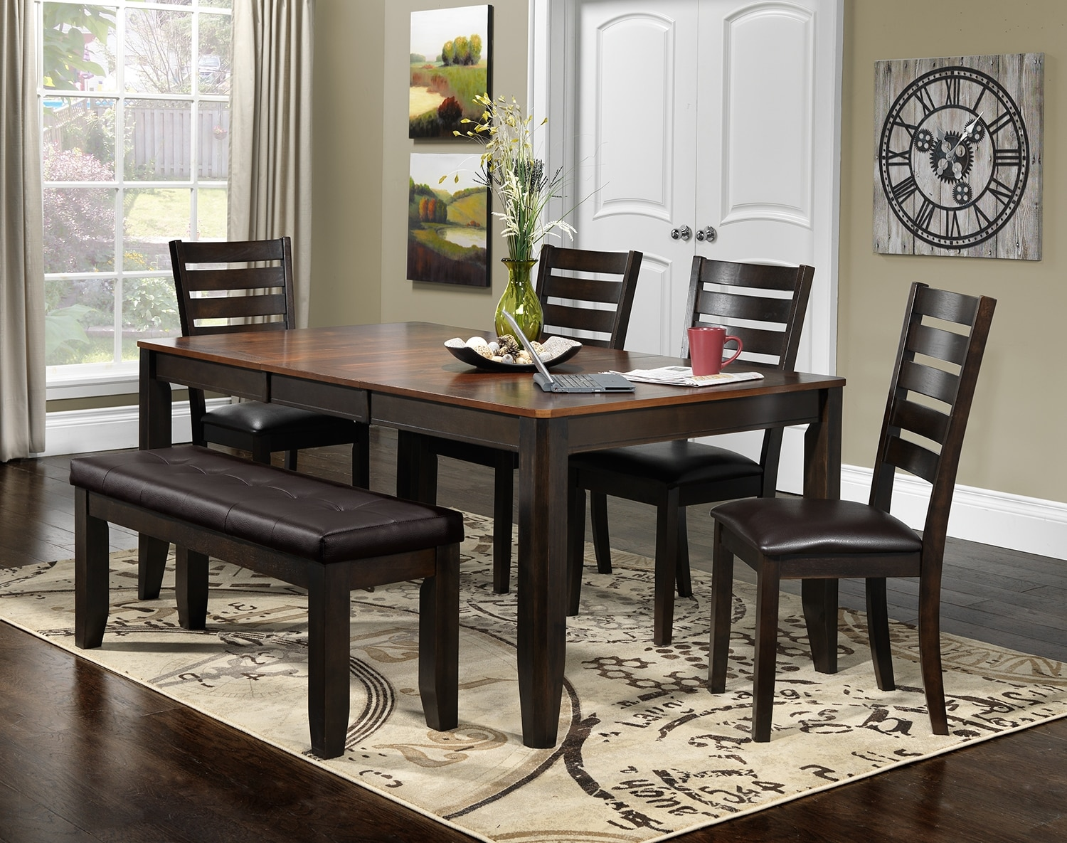 Krista 6 piece dinette set dark chocolate leon 39 s for Leon s dining room tables