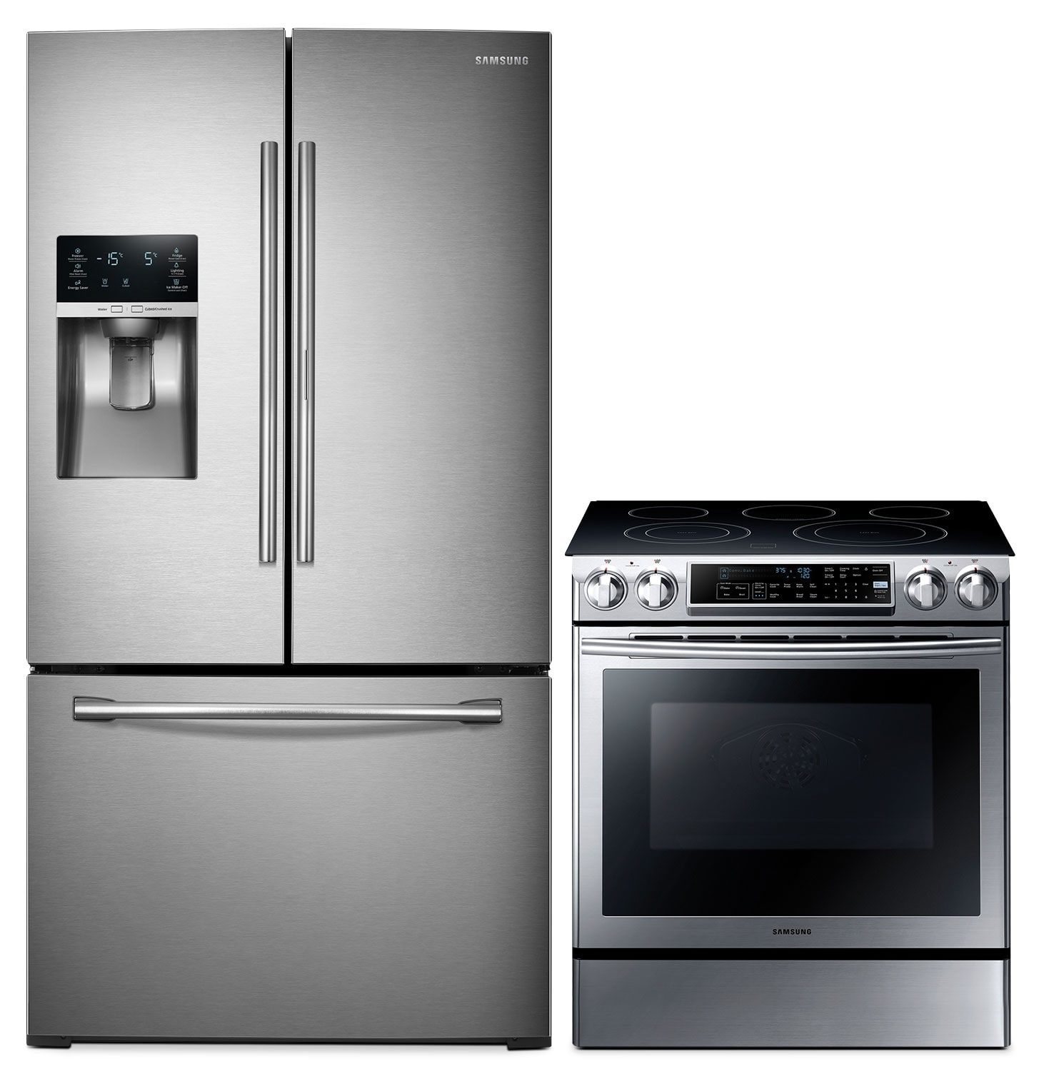 Samsung® 28 Cu. Ft. 3-Door Refrigerator and 5.8 Cu. Ft. Slide-In Electric Range Package