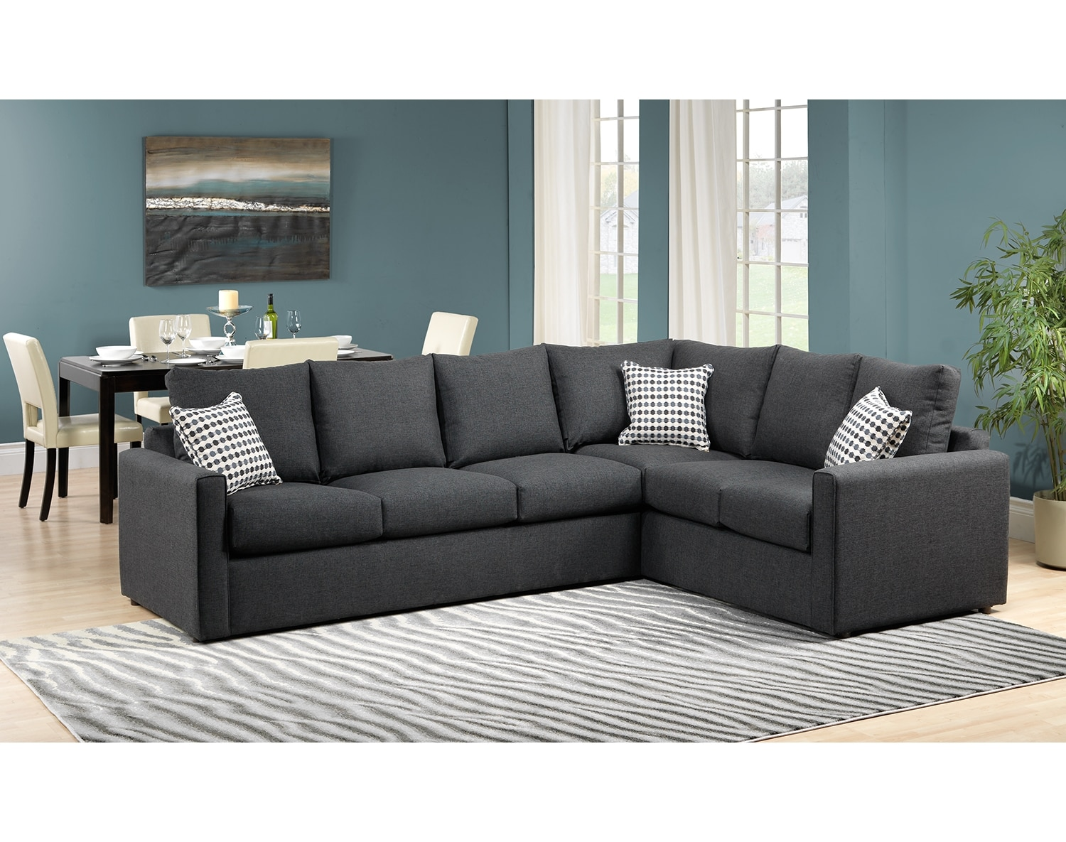 Athina 2 piece sectional with left facing queen sofa bed for Sectional furniture