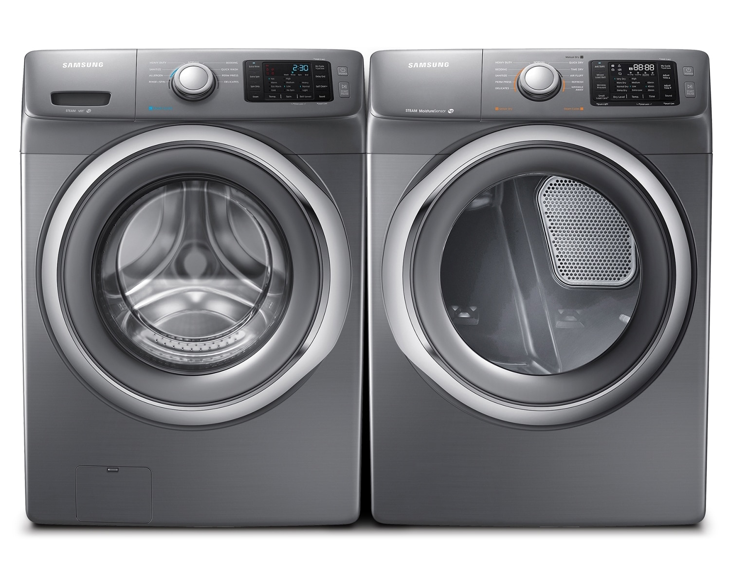 [Samsung Stainless Platinum Front-Load Laundry Pair]