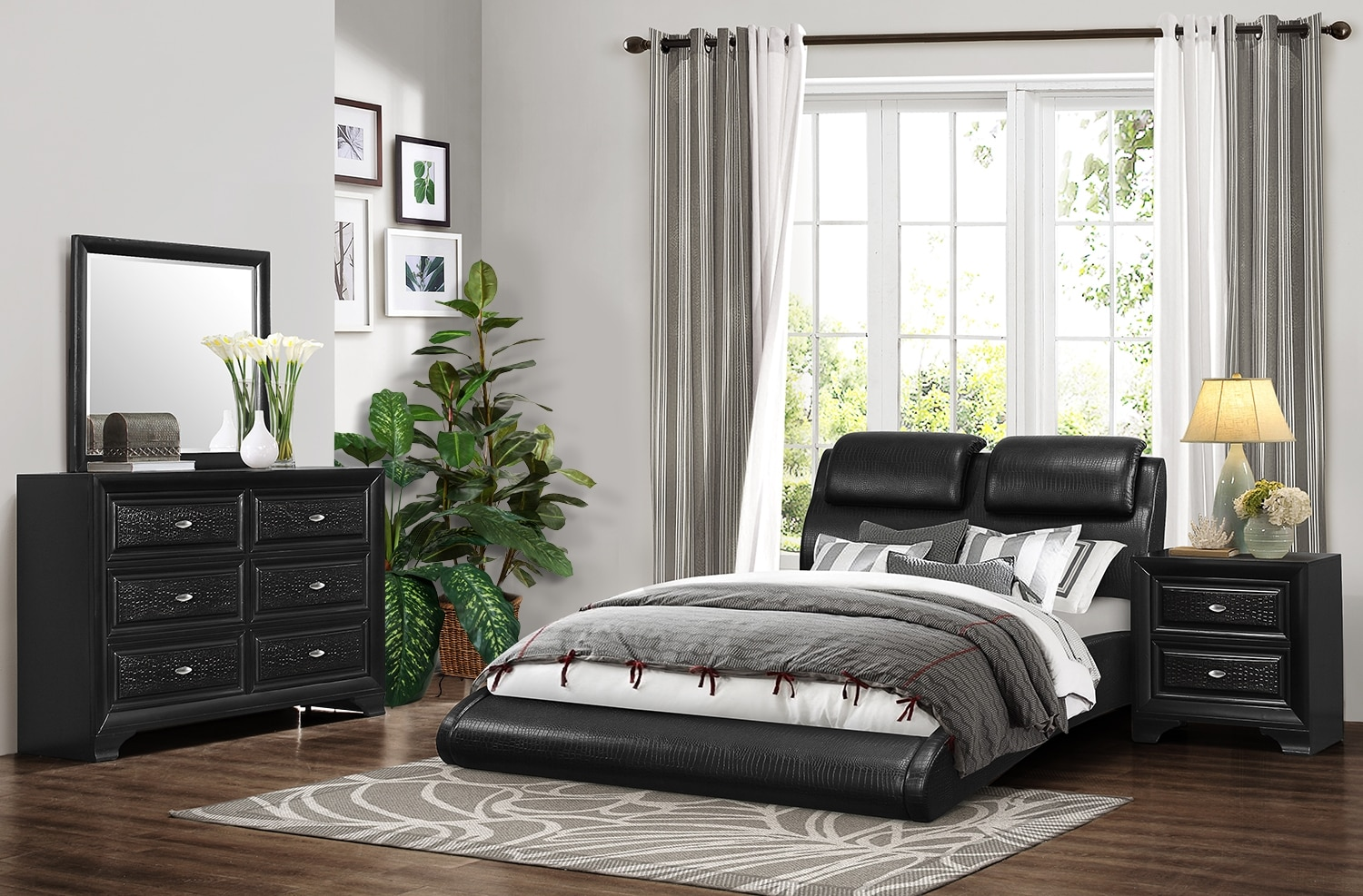 Bedroom Furniture - Roma 5-Piece Queen Bedroom Set - Black