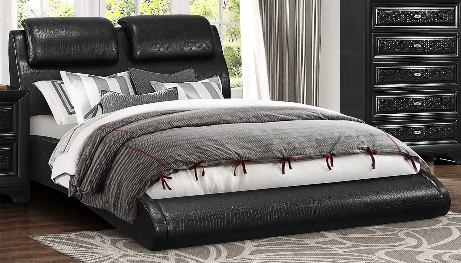 Roma Queen Bed - Black