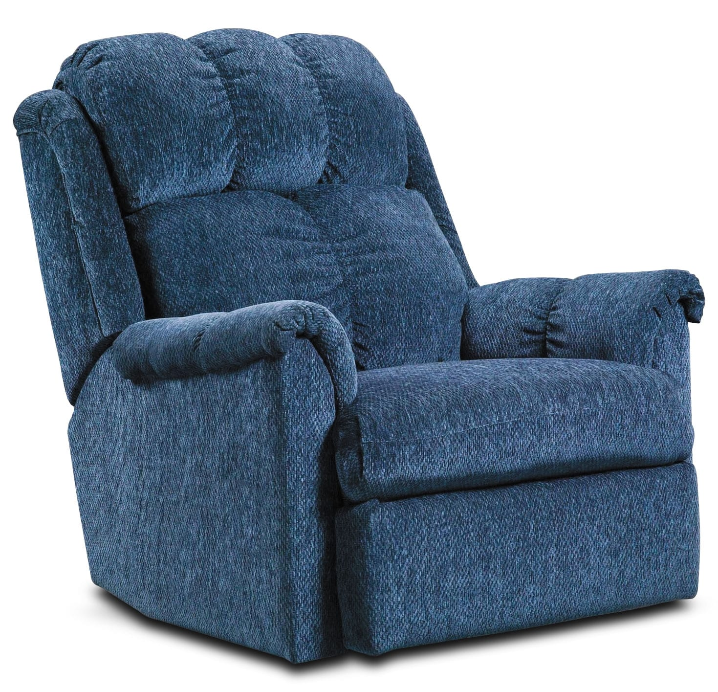 Living Room Furniture - Navy Chenille Power Recliner
