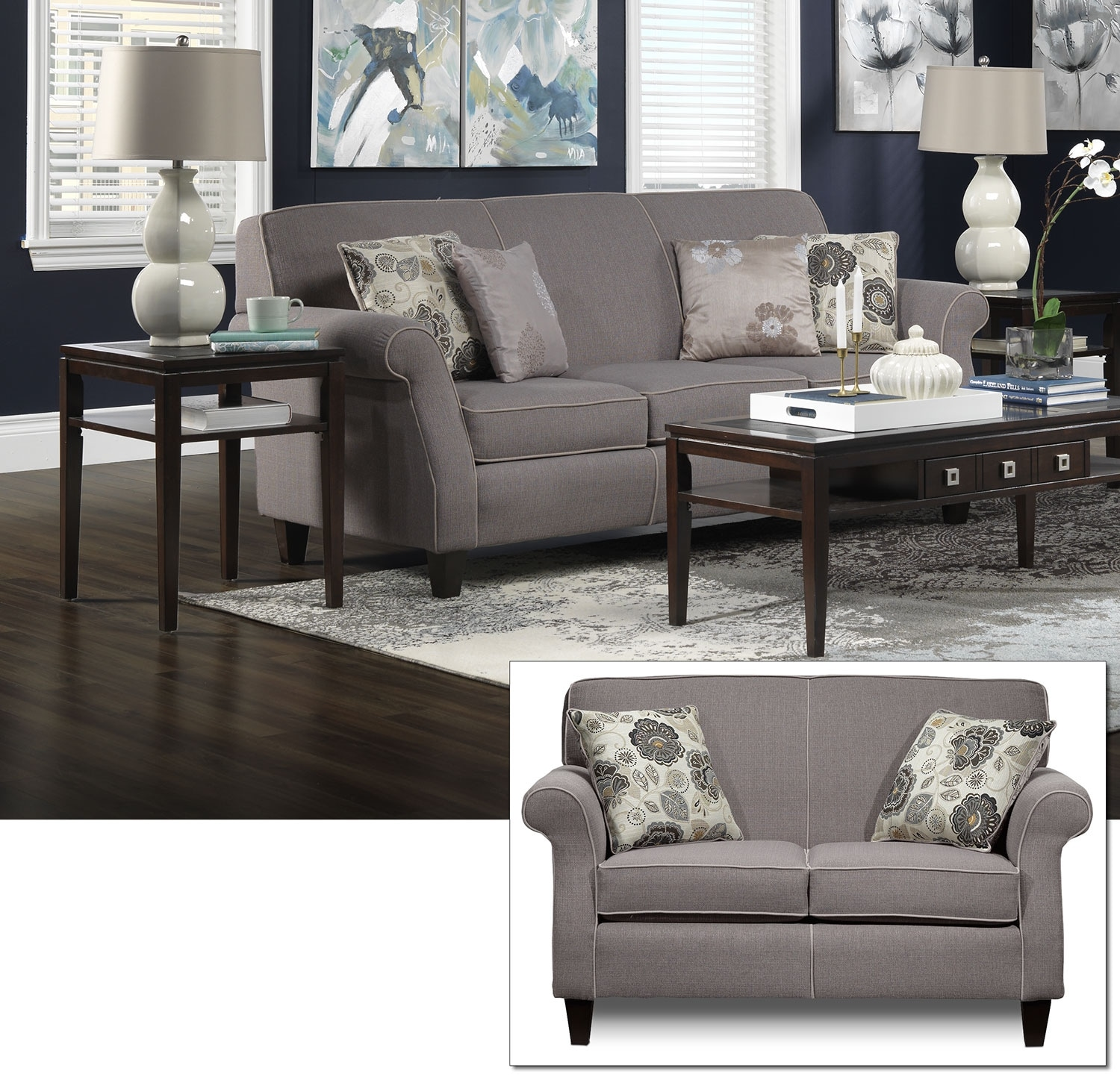 Aristo Sofa and Loveseat Set - Taupe