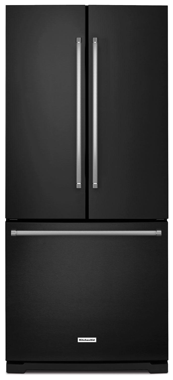 Réfrigérateur KitchenAid de 19,7 pi³ à portes françaises avec distributeur - noir