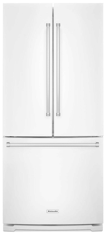 Réfrigérateur KitchenAid de 19,7 pi³ à portes françaises avec distributeur - blanc