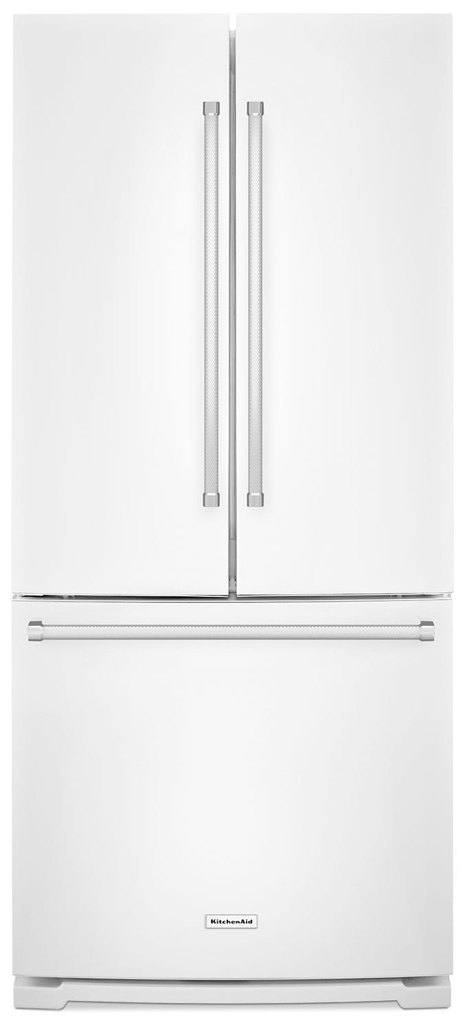 Kitchenaid 19 7 cu ft french door refrigerator with interior water dispenser white the brick for Interior water dispenser refrigerator