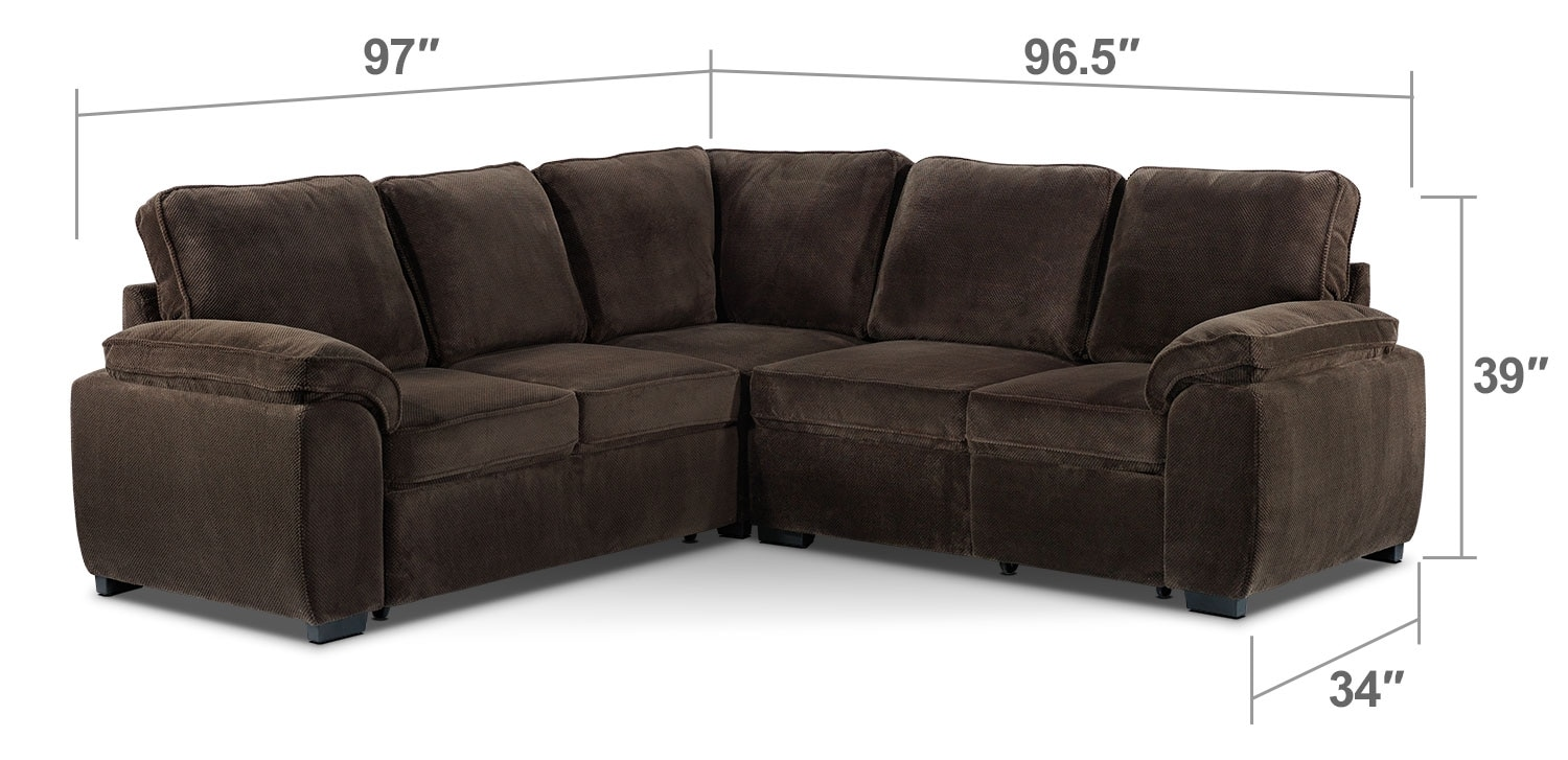 Living Room Furniture - Carlton 3-Piece Sectional - Dark Brown