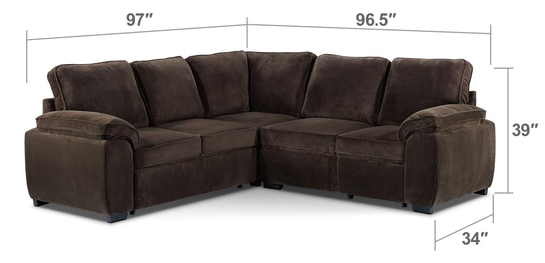 Living Room Furniture   Carlton 3 Piece Sectional   Dark Brown
