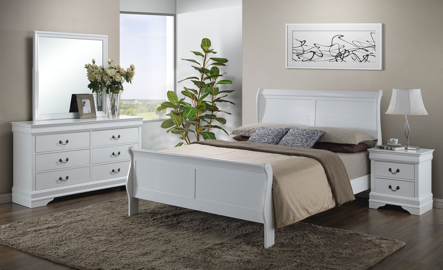 Bedroom Furniture - Belleview 6-Piece Full Bedroom Package - White