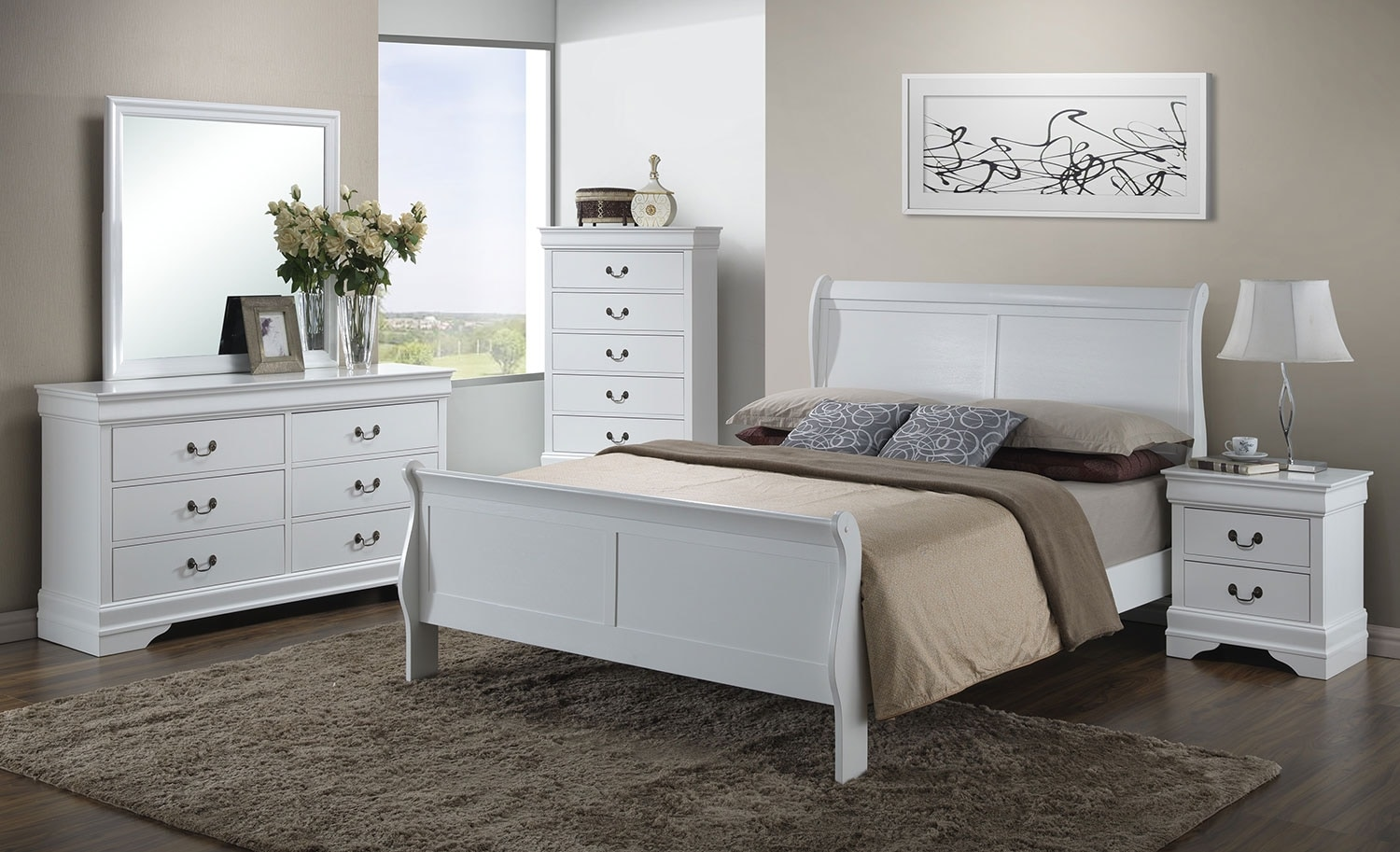 Bedroom Furniture - Belleview 8-Piece King Bedroom Package - White