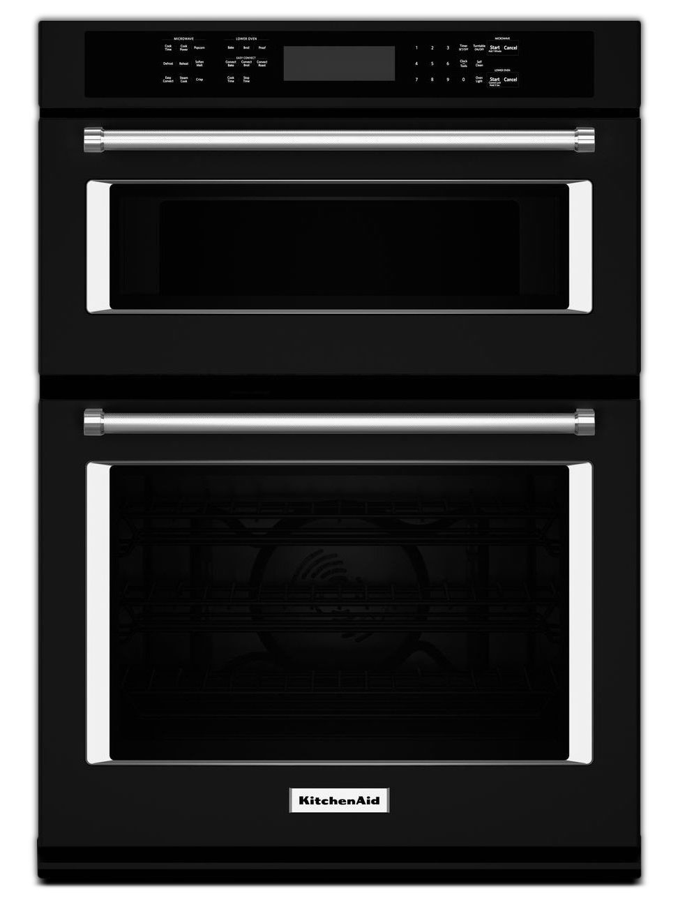 Cooking Products - KitchenAid Black Convection Wall Oven (5 Cu. Ft.) w/ Microwave (1.4 Cu. Ft.) - KOCE500EBL