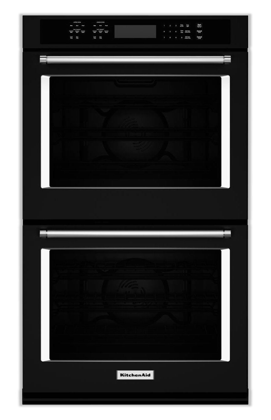 Cooking Products - KitchenAid Black Convection Double Wall Oven (10 Cu. Ft.) - KODE500EBL