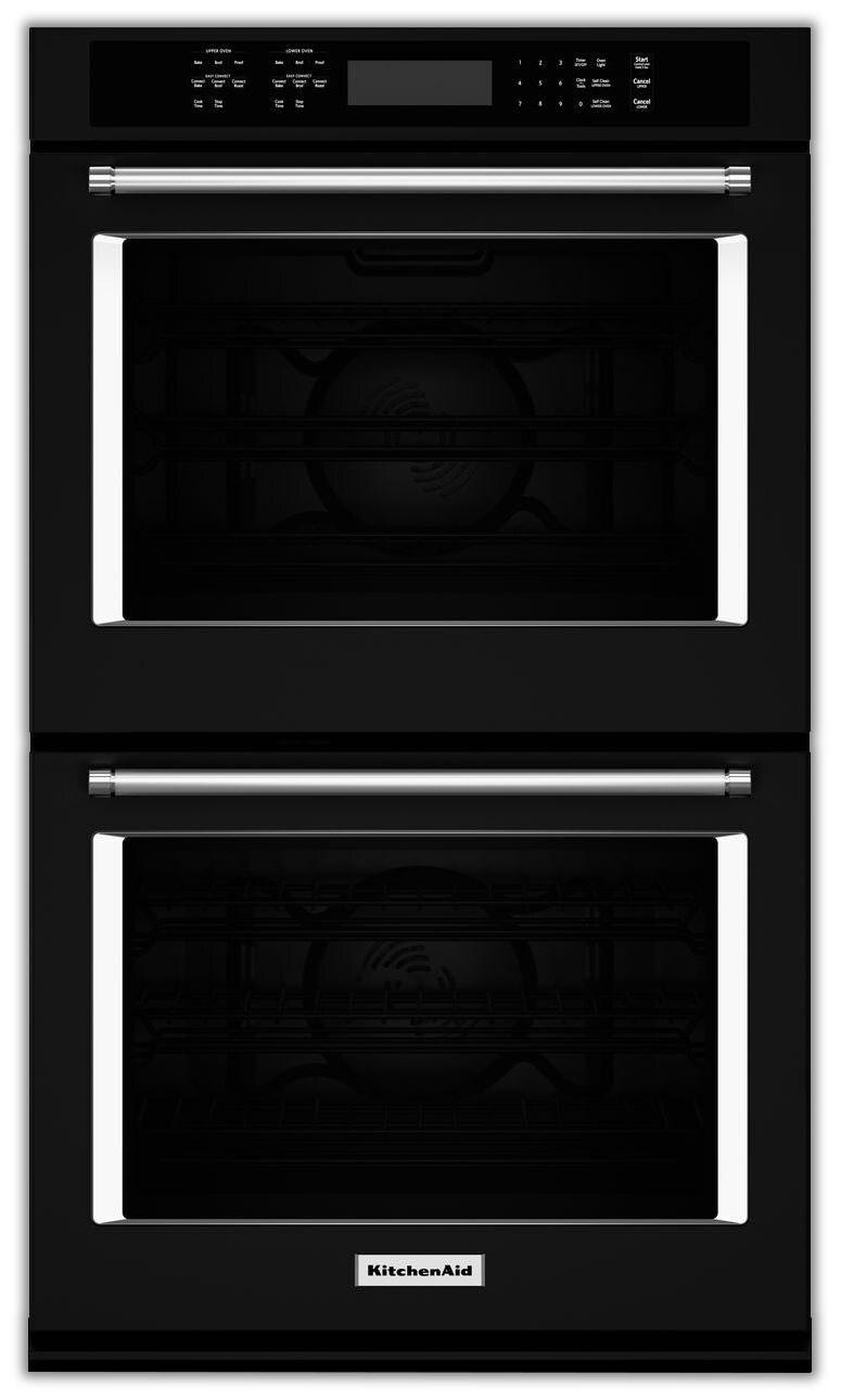 KitchenAid Black Convection Double Wall Oven (8.6 Cu. Ft.) - KODE507EBL