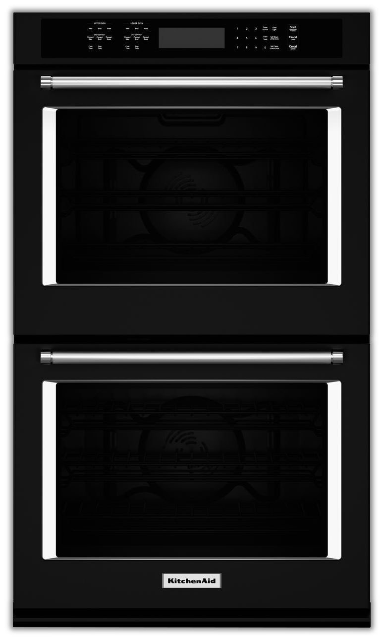 Cooking Products - KitchenAid Black Convection Double Wall Oven (8.6 Cu. Ft.) - KODE507EBL