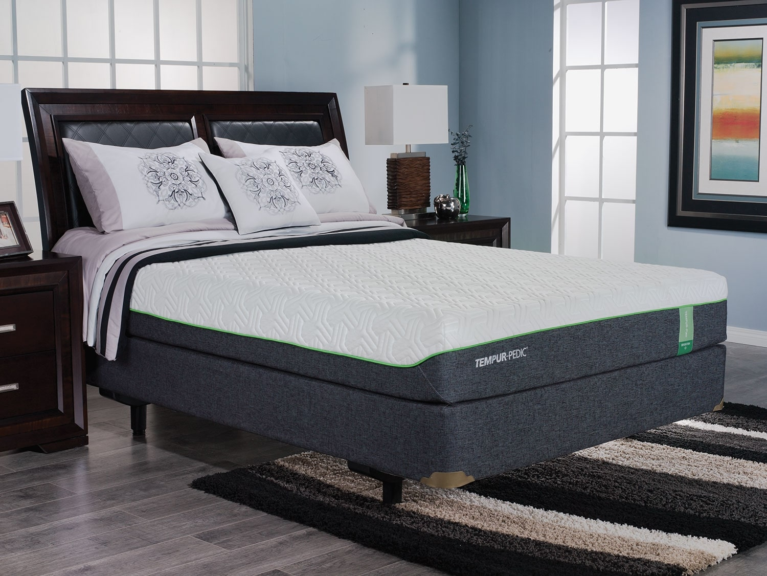 Mattresses and Bedding - TEMPUR-Flex™ Brighton Queen Mattress and Reflexion™ Tuxedo Adjustable Base Set