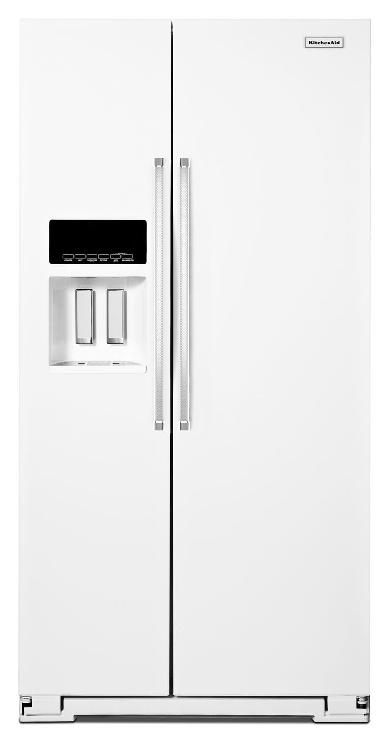 Refrigerators and Freezers - KitchenAid White Side-by-Side Refrigerator (24.8 Cu. Ft.) - KRSF505EWH