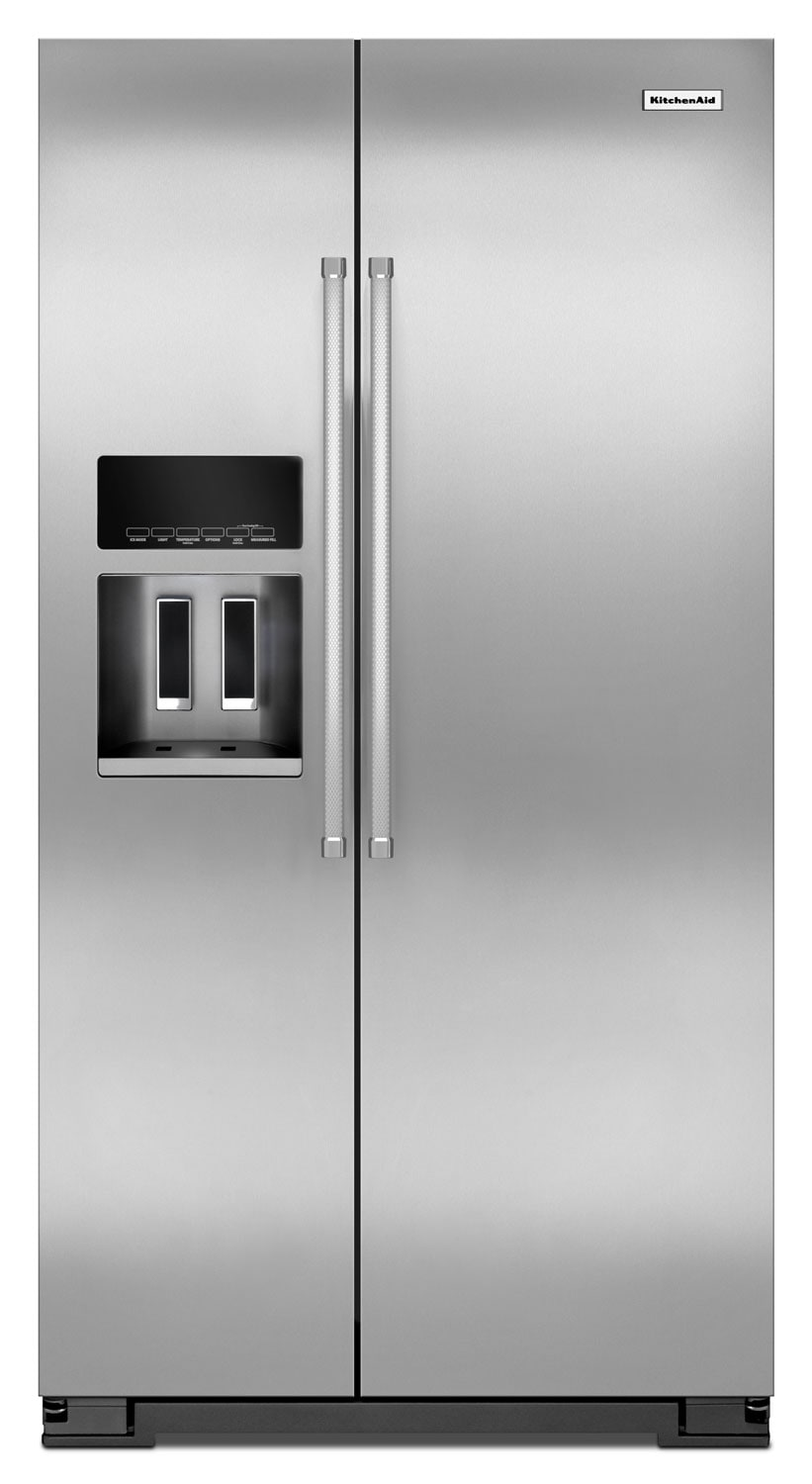Refrigerators and Freezers - KitchenAid Stainless Steel Side-by-Side Refrigerator (24.8 Cu. Ft.) - KRSF505ESS