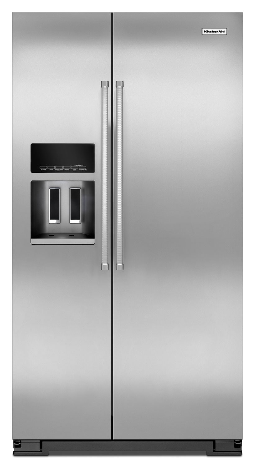 Refrigerators and Freezers - KitchenAid Stainless Steel Counter-Depth Side-by-Side Refrigerator (19.9 Cu. Ft.) - KRSC500ESS