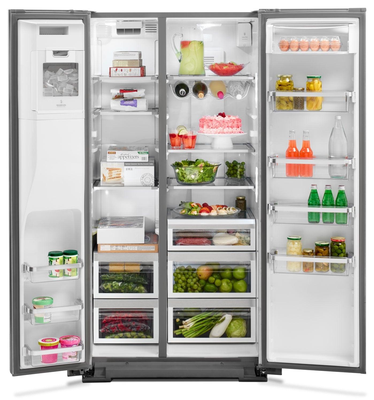 Kitchenaid Black Stainless Steel Side By Side Refrigerator: KitchenAid Stainless Steel Side-by-Side Refrigerator (23.9 Cu. Ft.) - KRSC503ESS