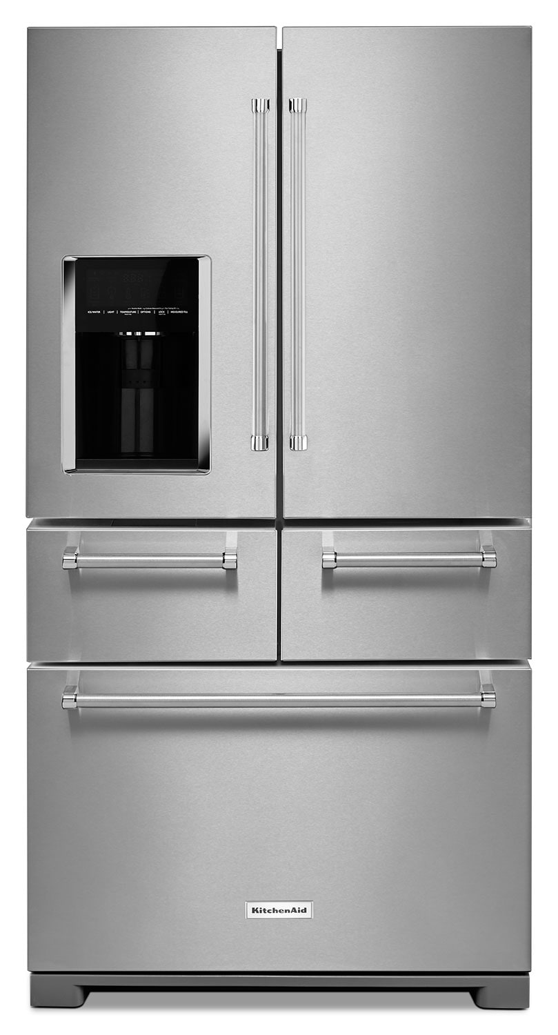 Refrigerators and Freezers - KitchenAid Stainless Steel French Door Refrigerator (25.8 Cu. Ft.)  - KRMF606ESS