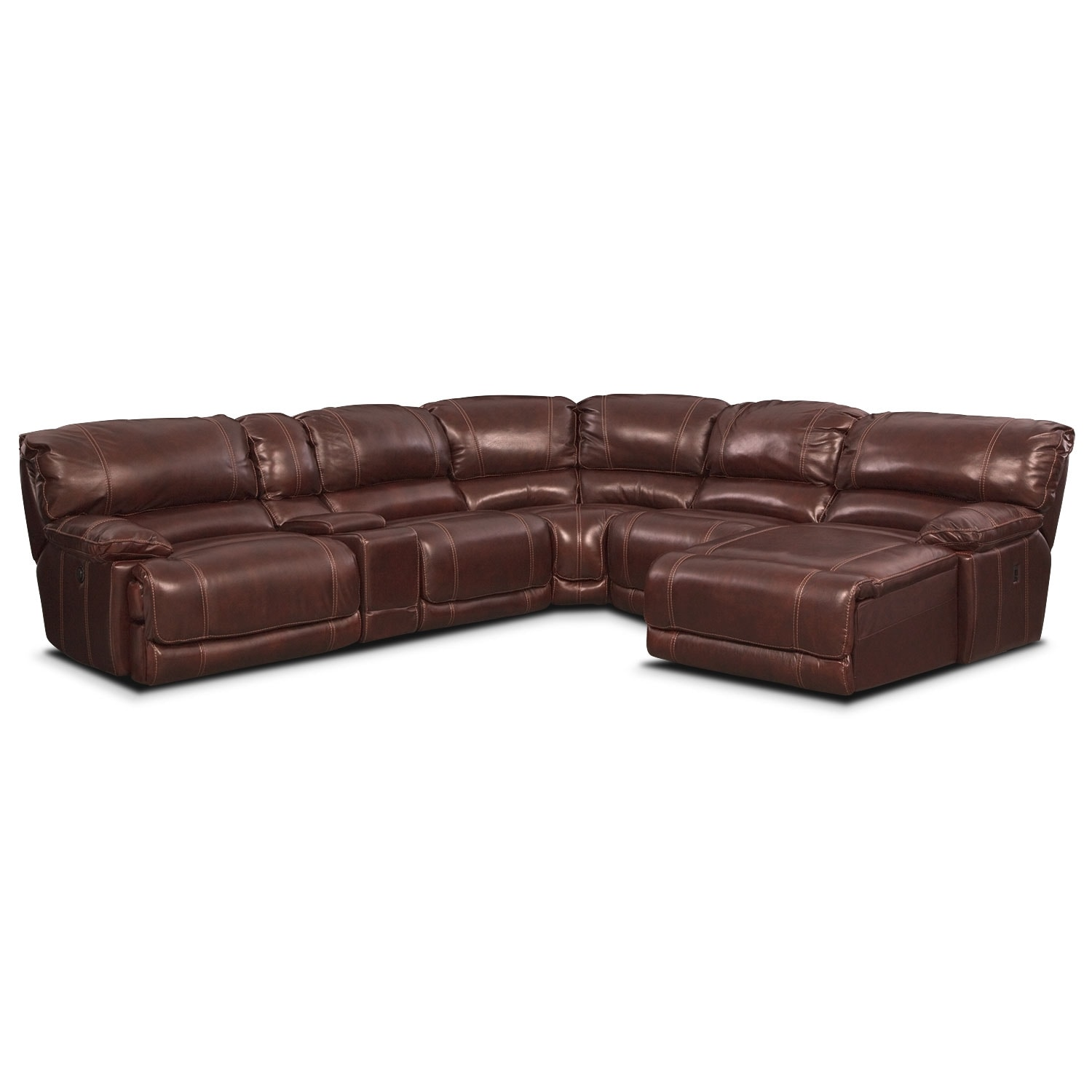 St malo 6 piece power reclining sectional with right for Burgundy chaise