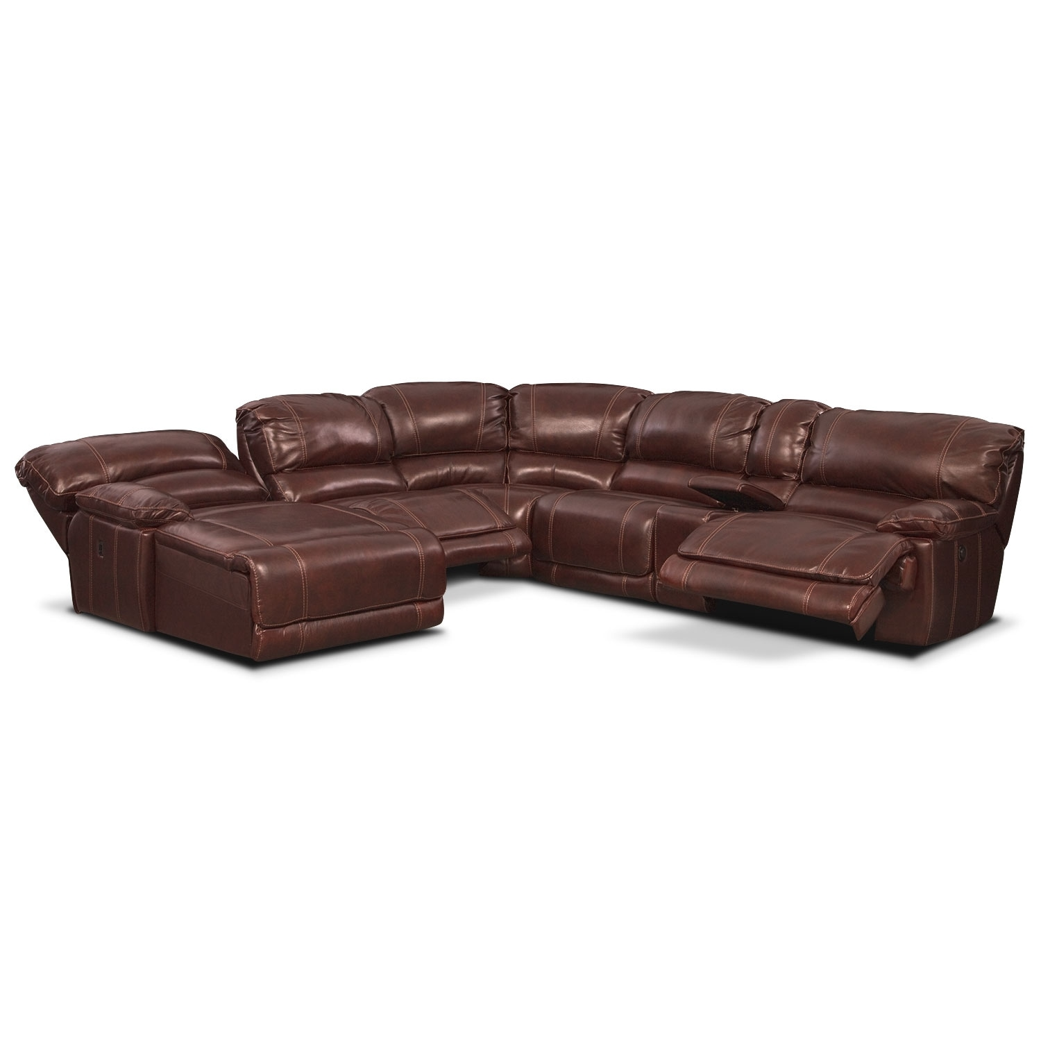 St malo 6 piece power reclining sectional with left for Burgundy chaise