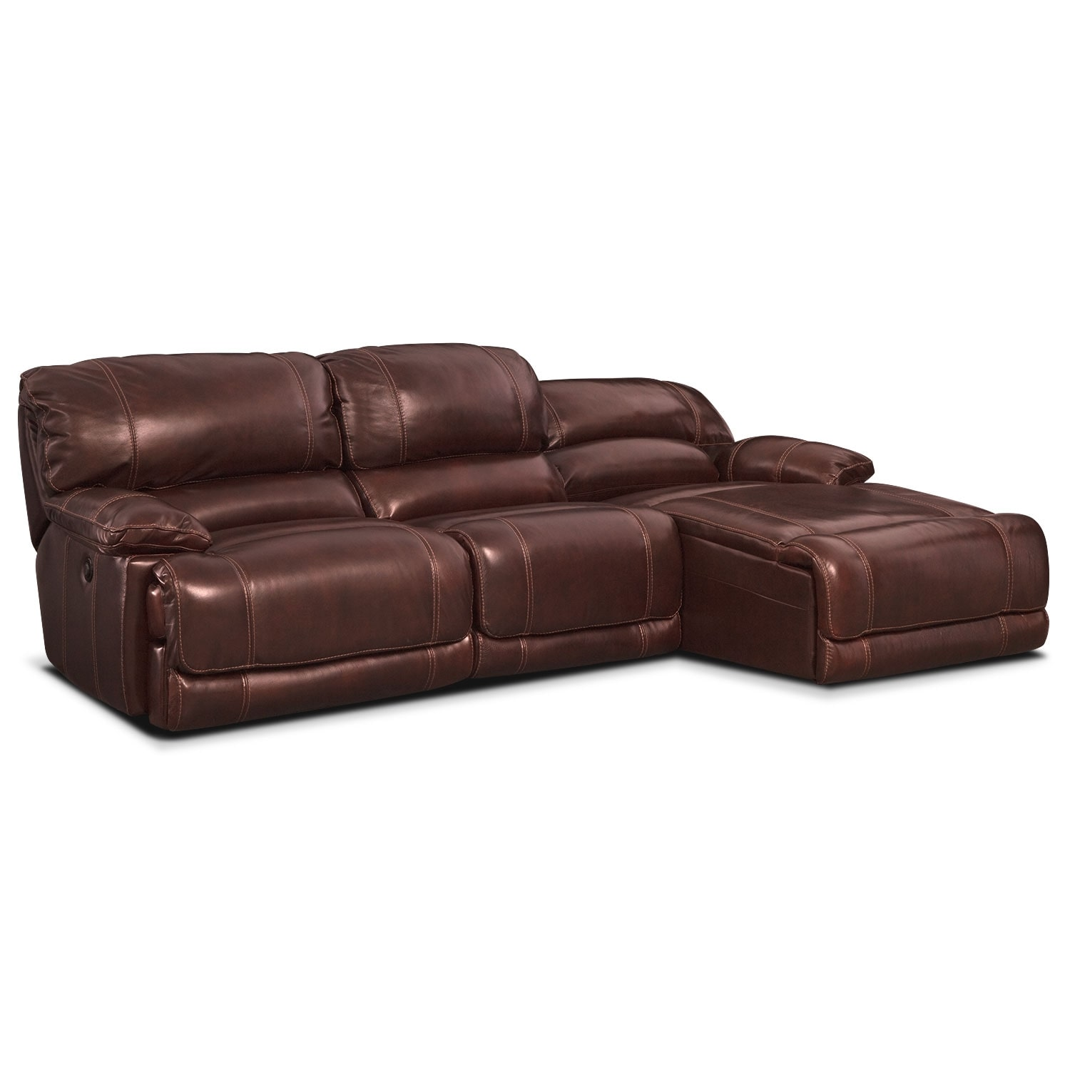 St malo 3 piece power reclining sectional with right for Burgundy chaise
