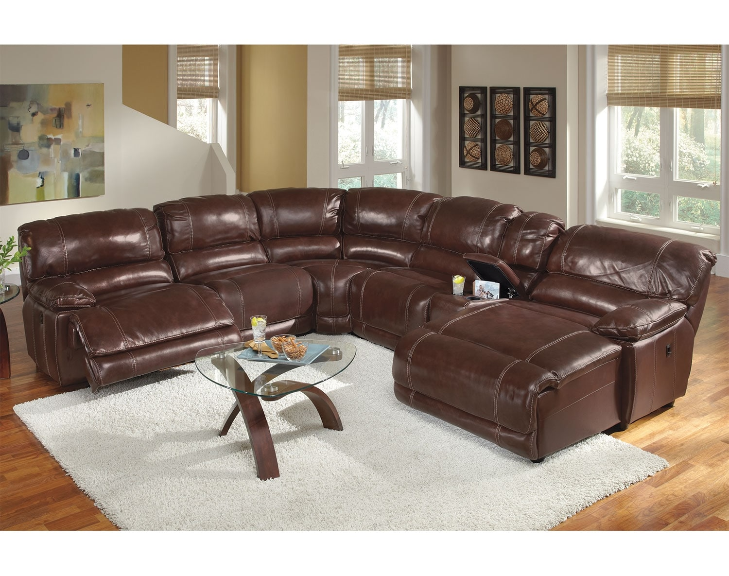 Living Room Furniture - The Clinton Burgundy Collection - 6 Pc. Power Reclining Sectional