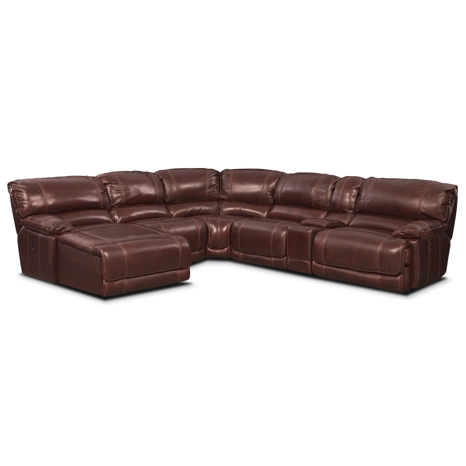 Living Room Furniture - Clinton Burgundy 6 Pc. Power Reclining Sectional (Reverse)