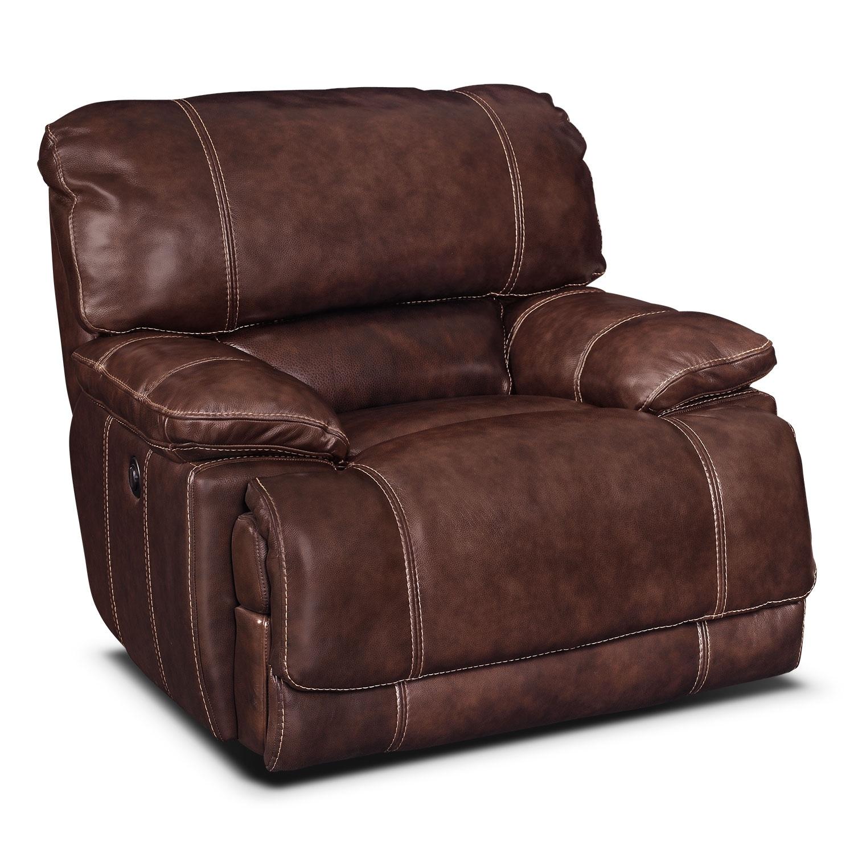 Living Room Furniture - Clinton Burgundy Power Recliner