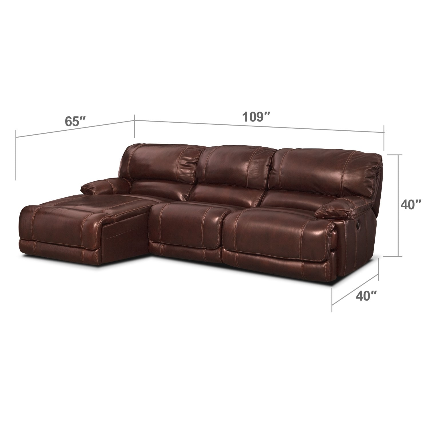 Living Room Furniture - Clinton Burgundy 3 Pc. Power Reclining Sectional (Reverse)