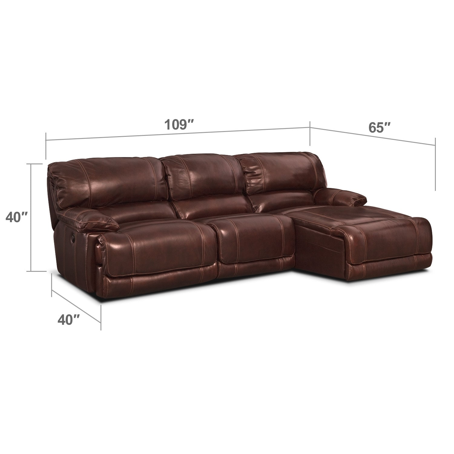 Living Room Furniture - Clinton Burgundy 3 Pc. Power Reclining Sectional