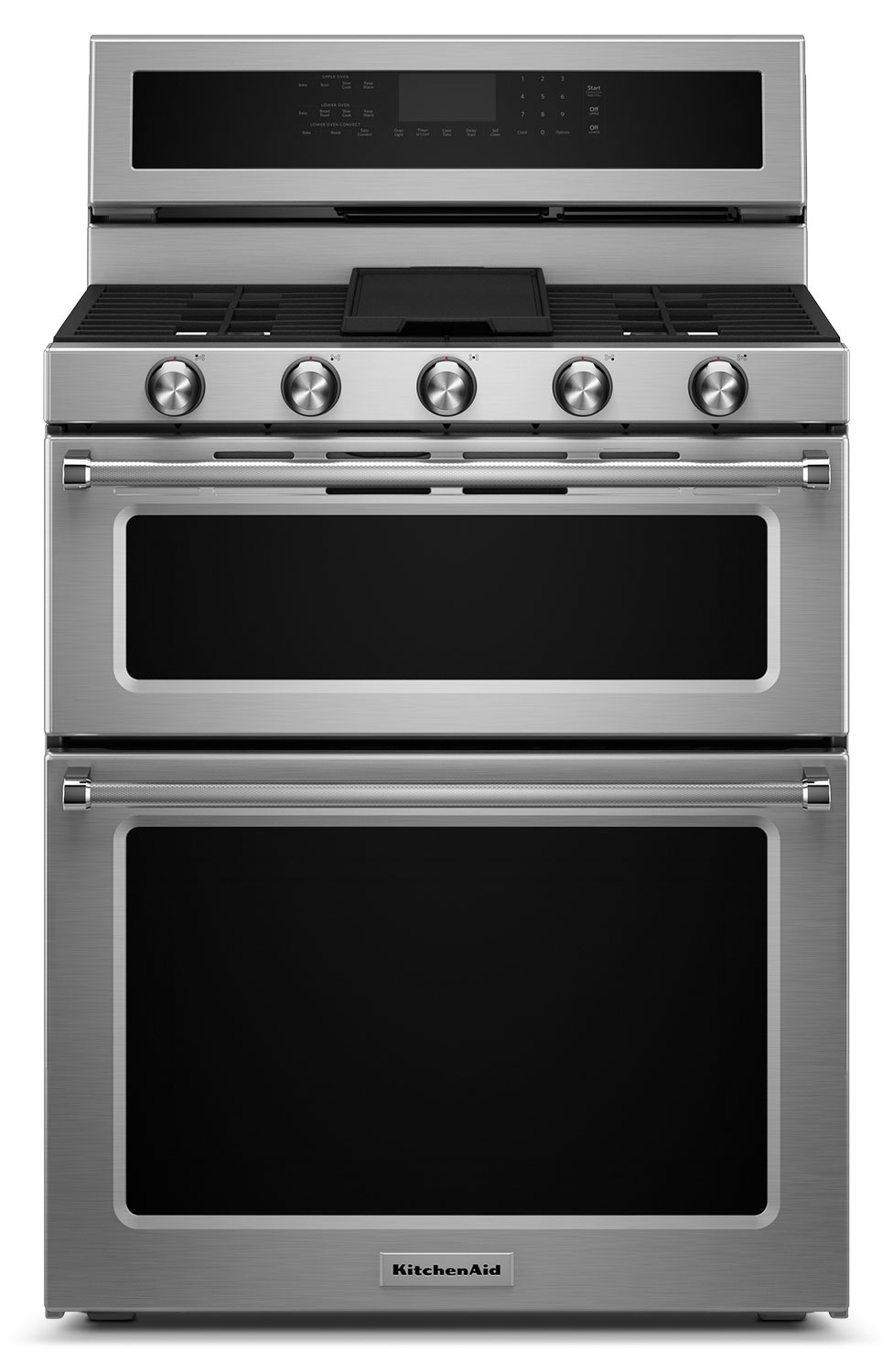 Cooking Products - KitchenAid 6.0 Cu. Ft. Dual-Fuel Double-Oven Range - Stainless Steel