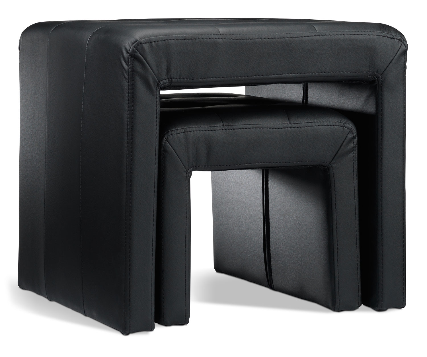 Accent Chair With Nesting Ottoman: Clark Nesting Ottomans - Black