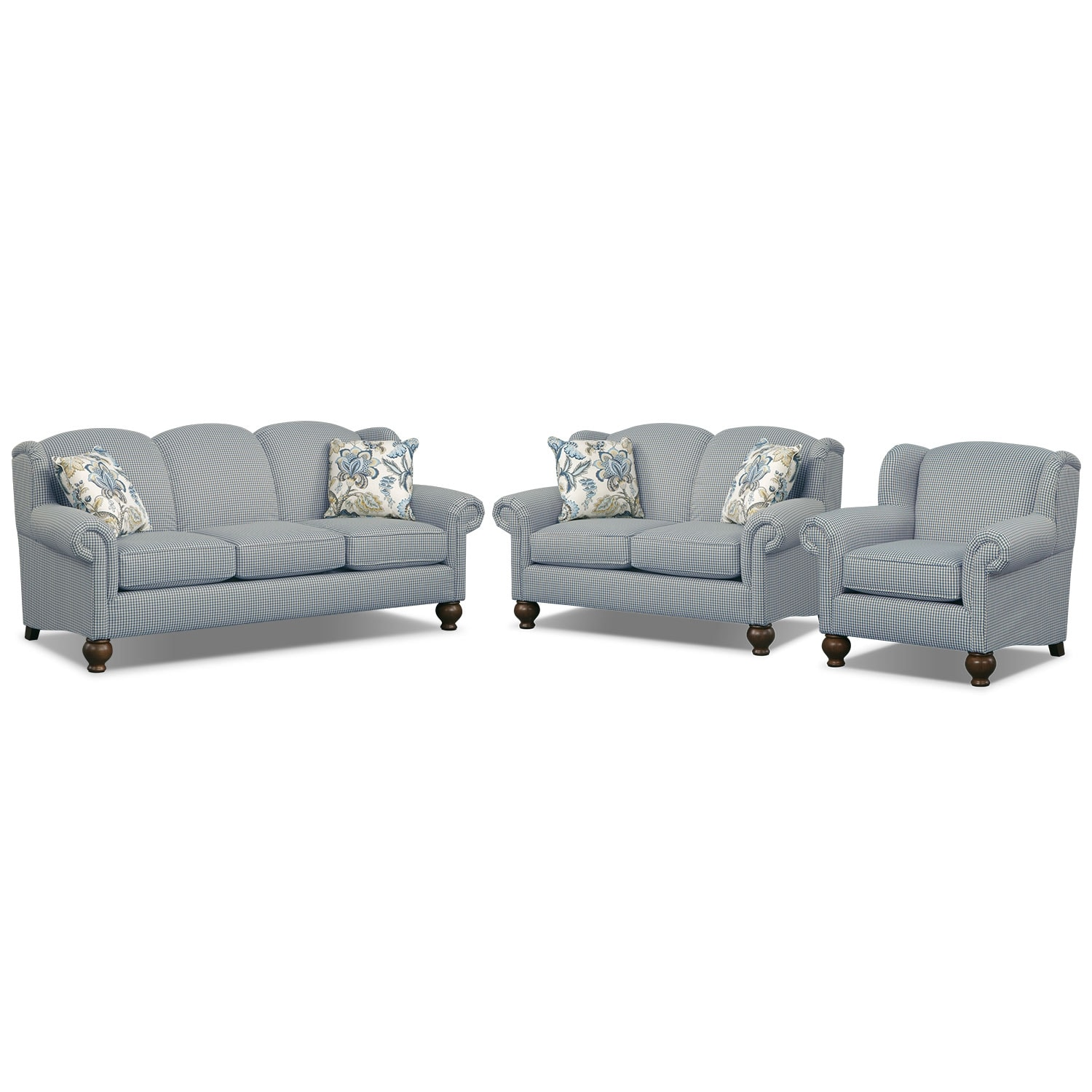 Caroline blue 3 pc living room for Furniture 3 room package