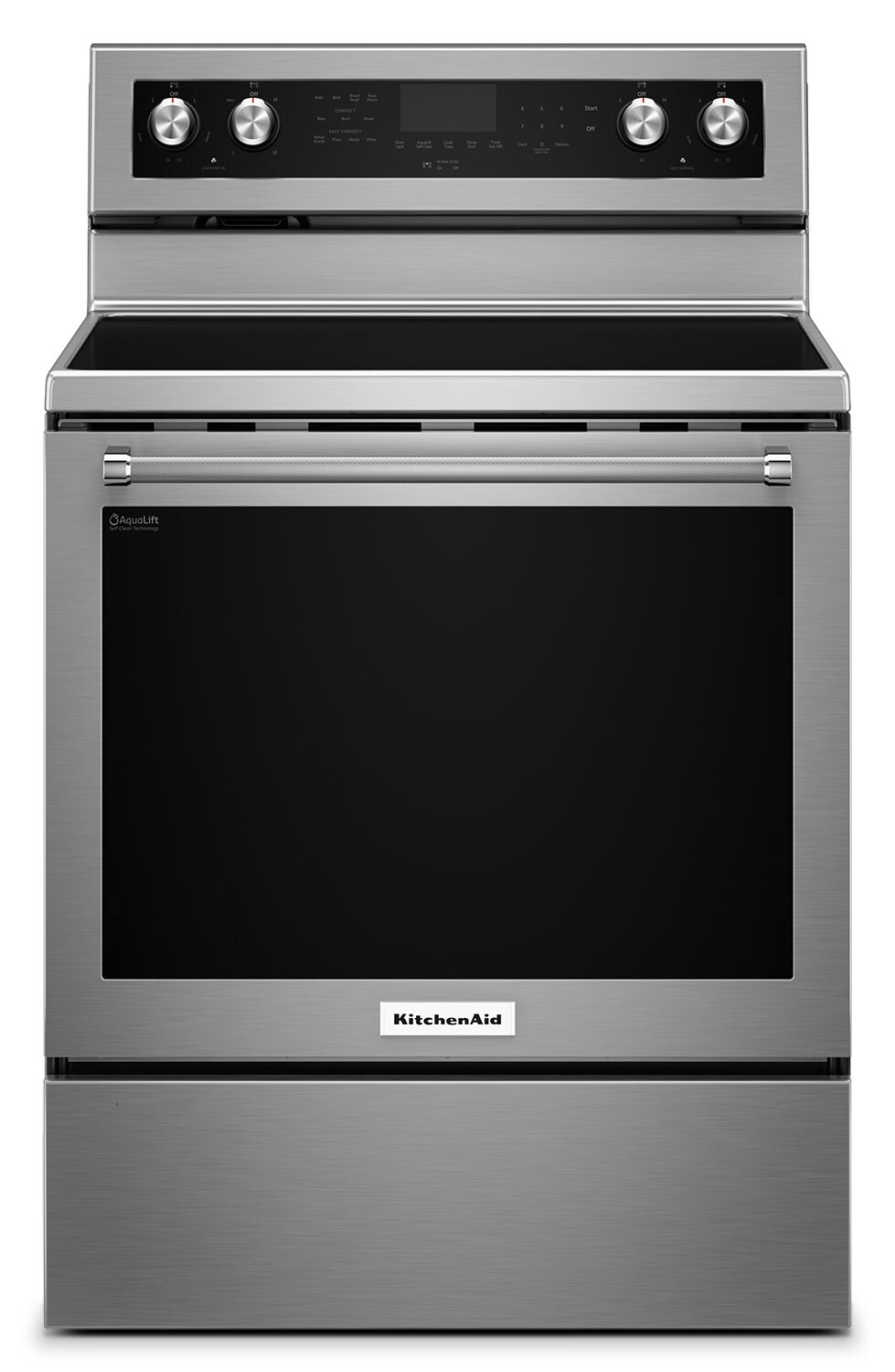 [KitchenAid Stainless Steel Freestanding Electric Convection Range (6.4 Cu. Ft.) - YKFEG500ESS]