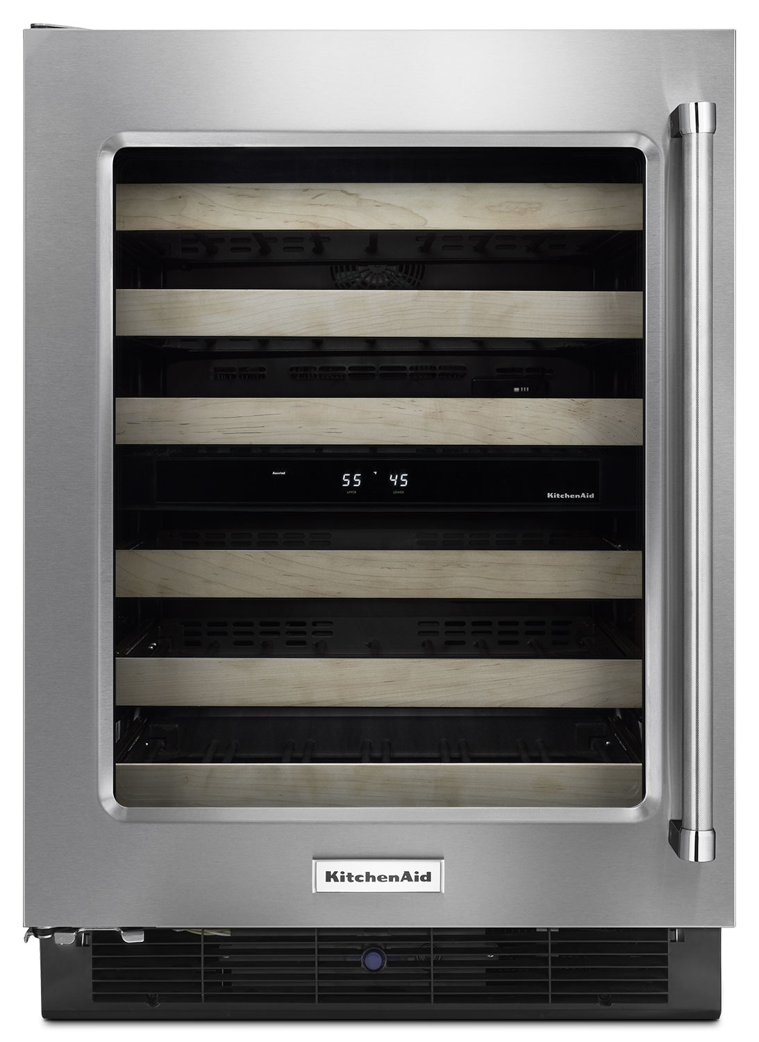 "Refrigerators and Freezers - KitchenAid 24"" Left-Swing Wine Cellar with Wood Racks - Stainless Steel"
