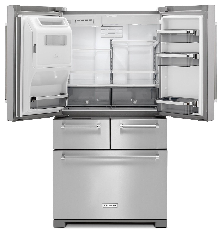 Kitchenaid 25 8 Cuft Black Stainless Steel 5 Door French: KitchenAid 25.8 Cu. Ft. Multi-Door Refrigerator- Stainless Steel