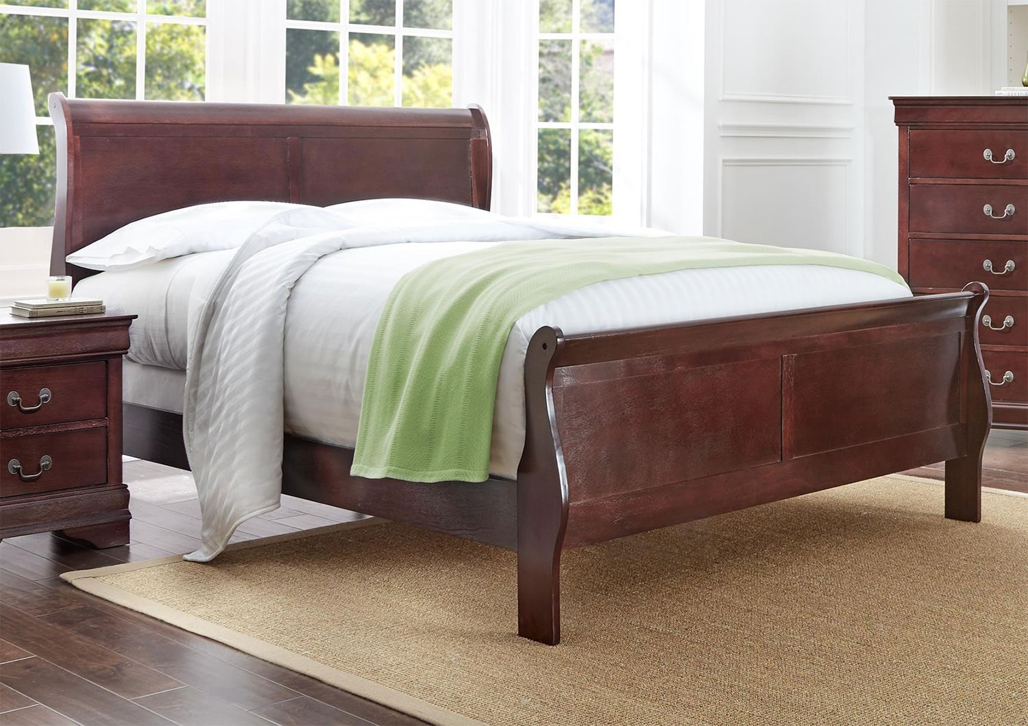 Bedroom Furniture - Belleview Full Sleigh Bed - Cherry
