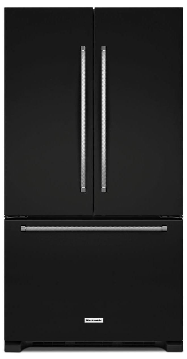 Refrigerators and Freezers - KitchenAid Black French Door Refrigerator (20 Cu. Ft.) - KRFC300EBL