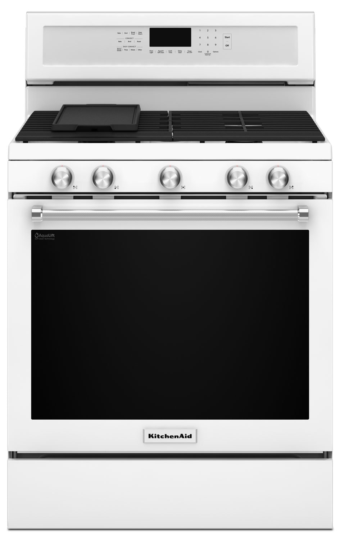 Kitchenaid white freestanding gas range 5 8 cu ft kfgg500ewh leon 39 s - Kitchenaid gas range ...